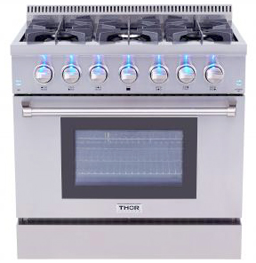 THOR 36 Dual Fuel Professional Range for natural gas
