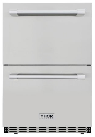 THOR Double Drawer Under Counter Refrigerator in Stainless Steel (HRF2401U)