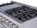 Six burners plus griddle section makes the 48 THOR Professional Range the center of your Kitchen