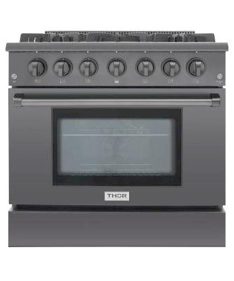 THOR 36 Black Stainless Steel Professional Range for natural gas
