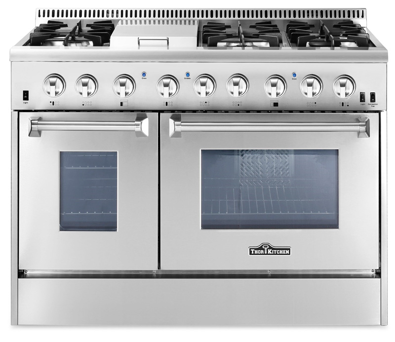 thor 48 inch dual fuel double oven range for natural gas - Gas Range Double Oven