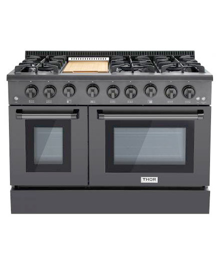 THOR 48 inch Black Stainless Steel Double Oven Range for natural gas